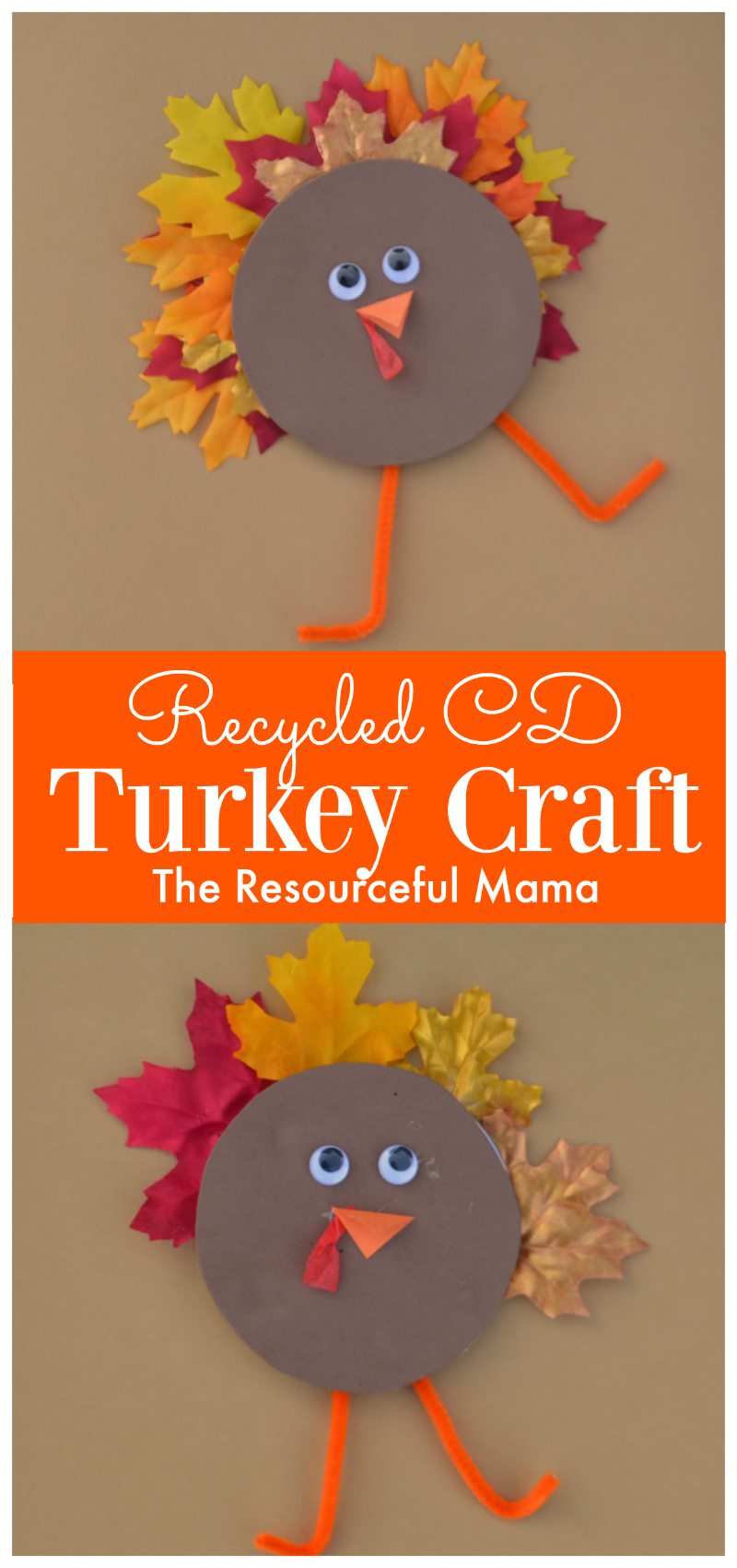Recycled CD Turkey Kid Craft #recycledcd Transform and old CD or DVD into a turkey kid craft for Thanksgiving. recycled craft | upcycled craft | fall #recycledcd