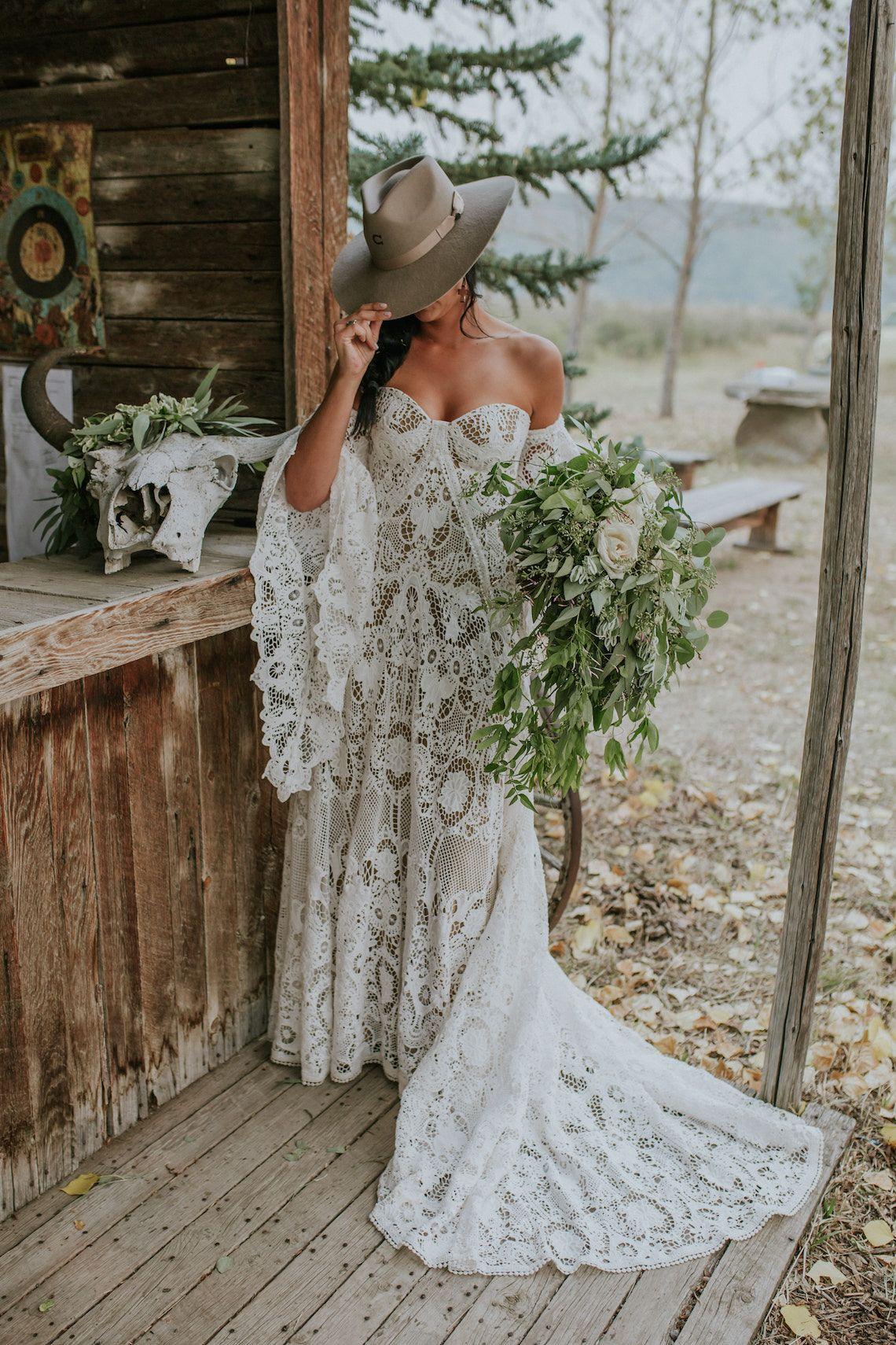 This Canadian country wedding with a Western saloon & buffalo skulls is epic