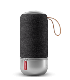 Libratone ZIPP MINI Copenhagen Edition with aluminum base and top, leather handle and replaceable cover in Italian wool