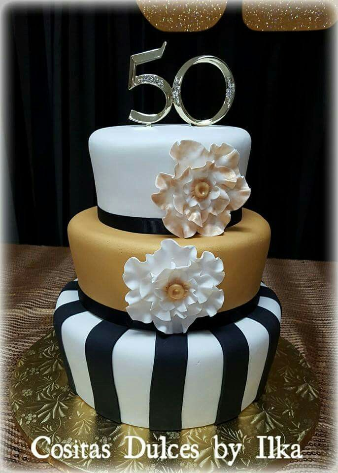 50th Birthday Cake Golden Black White Cake My Cakes In 2019
