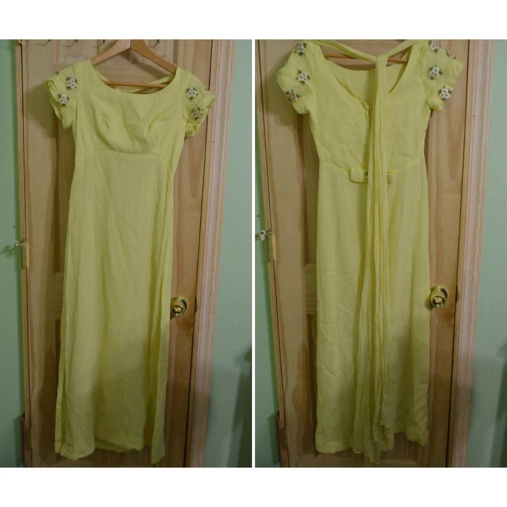 Vtg s yellow wedding dress w daisies yellow wedding dresses and