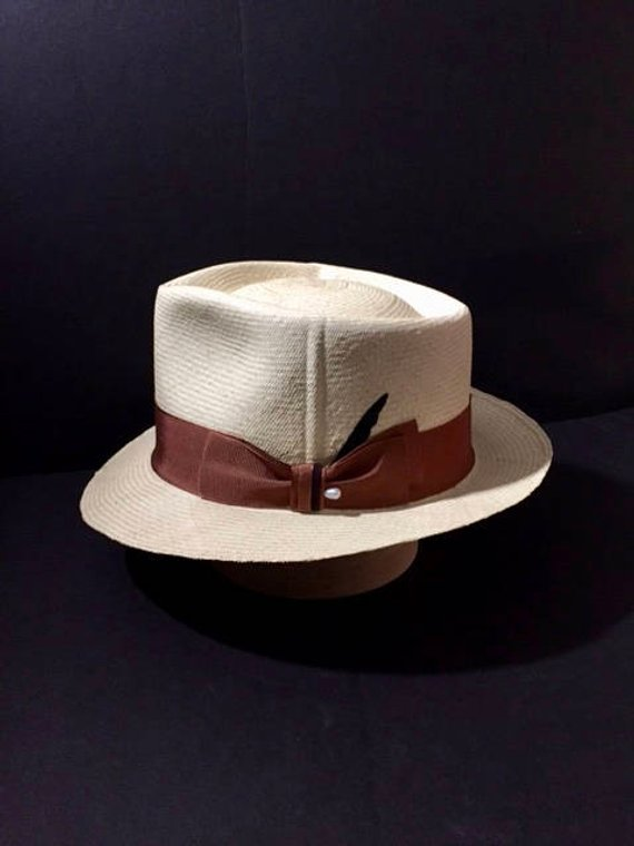 743d85d600c Panama Hat New Custom Made Stingy Brim Straw Fedora Size 7 1 8 in ...