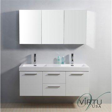 Virtu Usa 54 Midori Double Sink Bathroom Vanity With Polymarble Countertop Gloss White Unique Bathroom Vanity Bathroom Vanity Bathroom Sink Vanity 54 inch bathroom vanity double sink