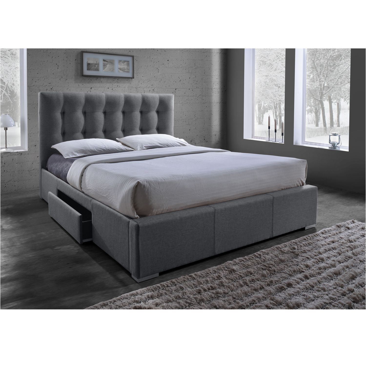 Sarter Contemporary Grid Tufted Grey Fabric Upholstered Storage Bed With 2 Drawer Storage Bed Bedroom Furniture Beds Upholstered Panel Bed
