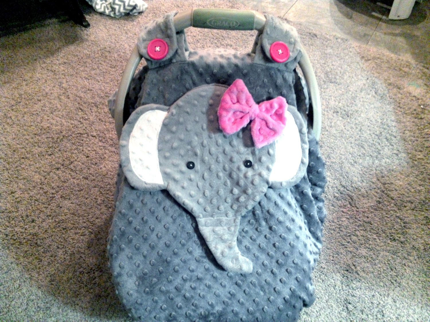 Made To Order Gray Fitted Fleece Elephant Car Seat Canopy