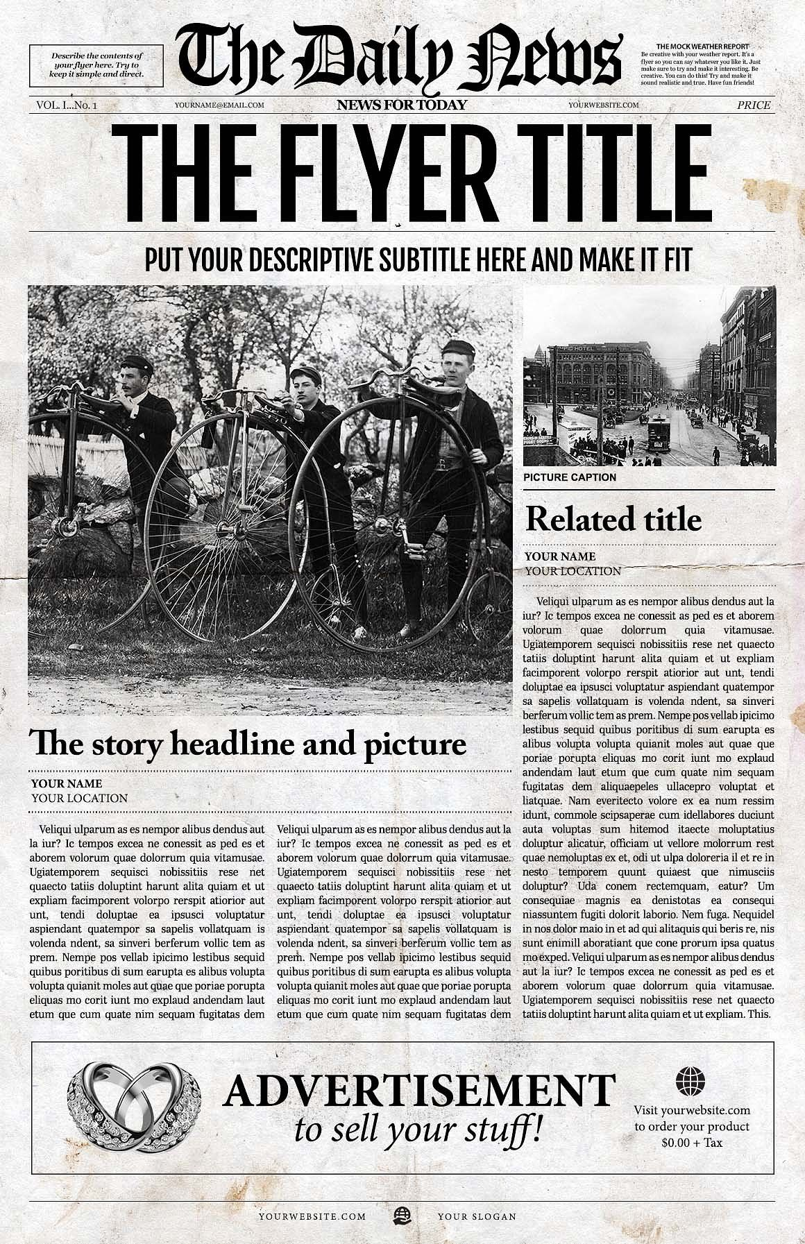 1 Page Newspaper Template Adobe Indesign 11x17 Inch Download