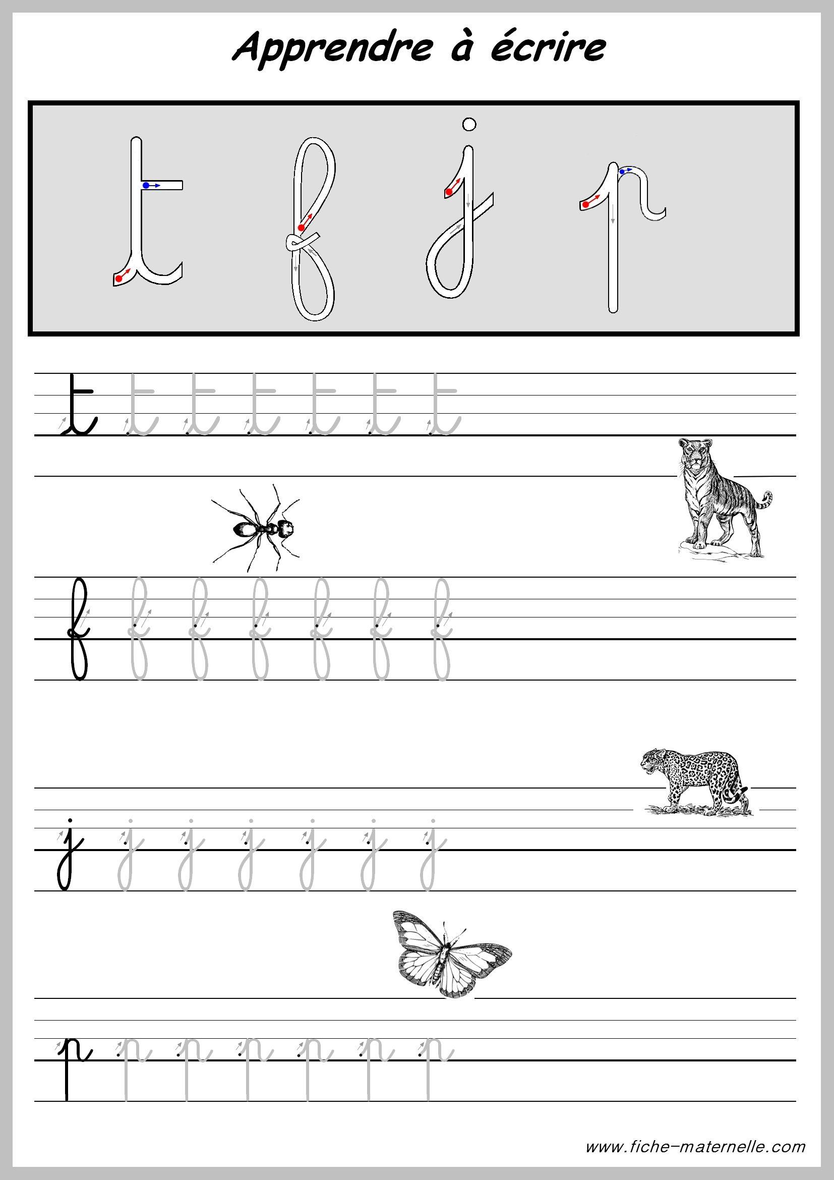 exercices pour apprendre a ecrire les lettres