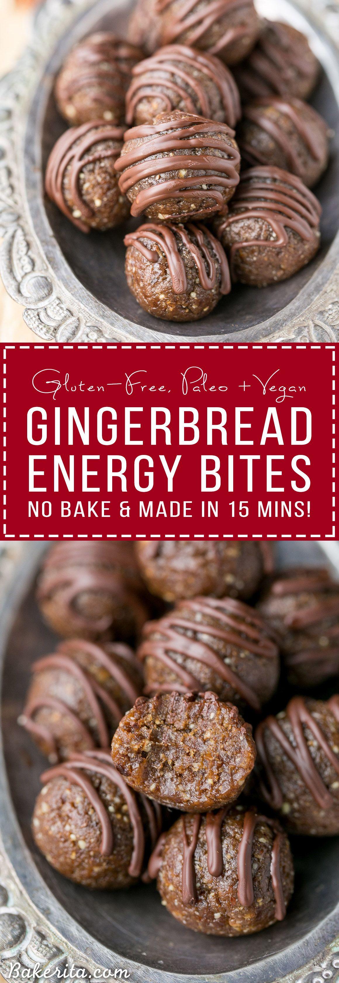 Gingerbread Energy Bites (No-Bake, Gluten Free, Paleo + Vegan)