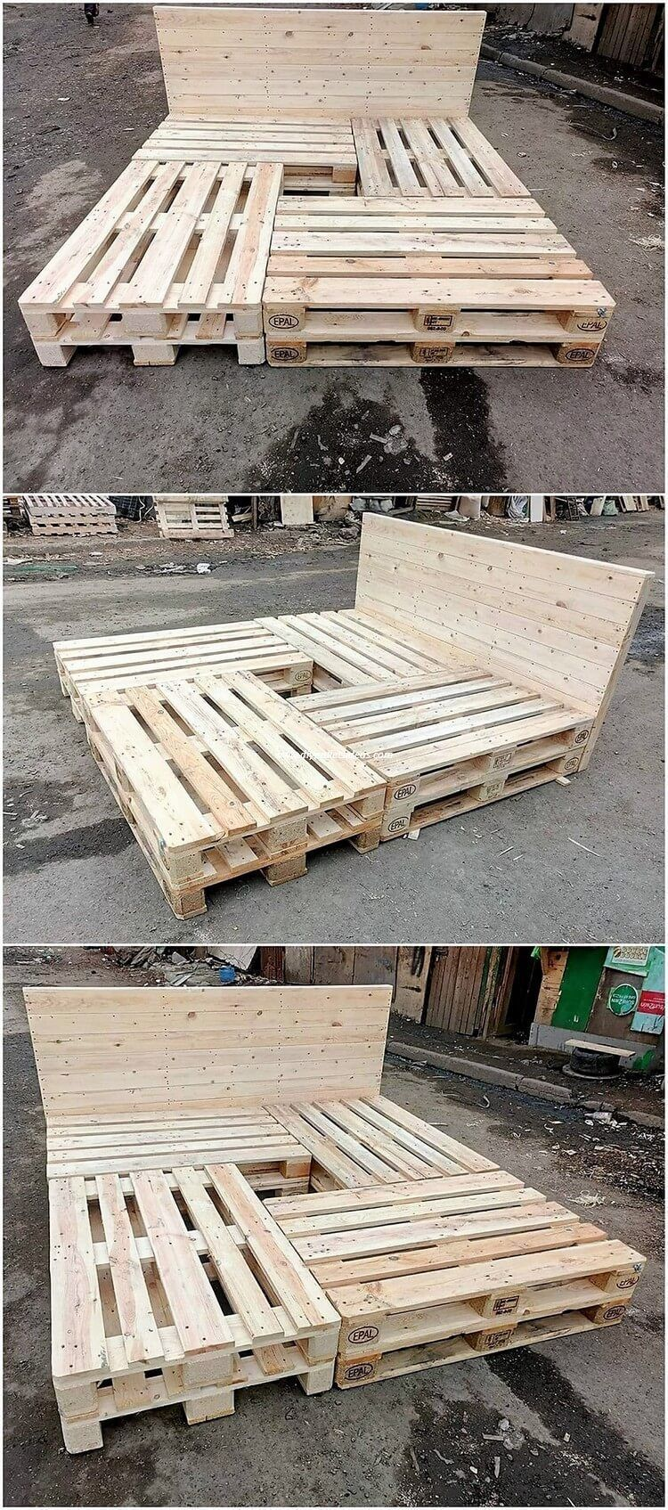 Grab this wood pallet reusing idea where the amazing formation work of the bed frame has been done that simply turn out to give away the catchier effects as you would be making it place over the top of bedroom. It is simple and so creative designed out. #WoodworkingDiyPallet #palletbedroomfurniture