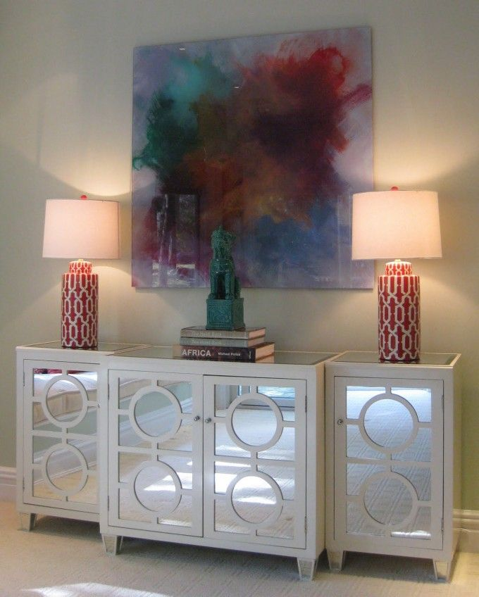 White Mirrored Buffet Table With 4 Doors For Home Furniture Ideas ...