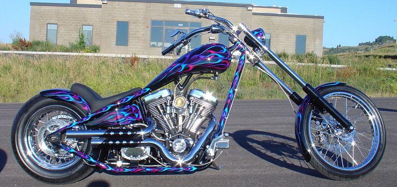 Purple, magenta and blue flames Bike tank, Custom