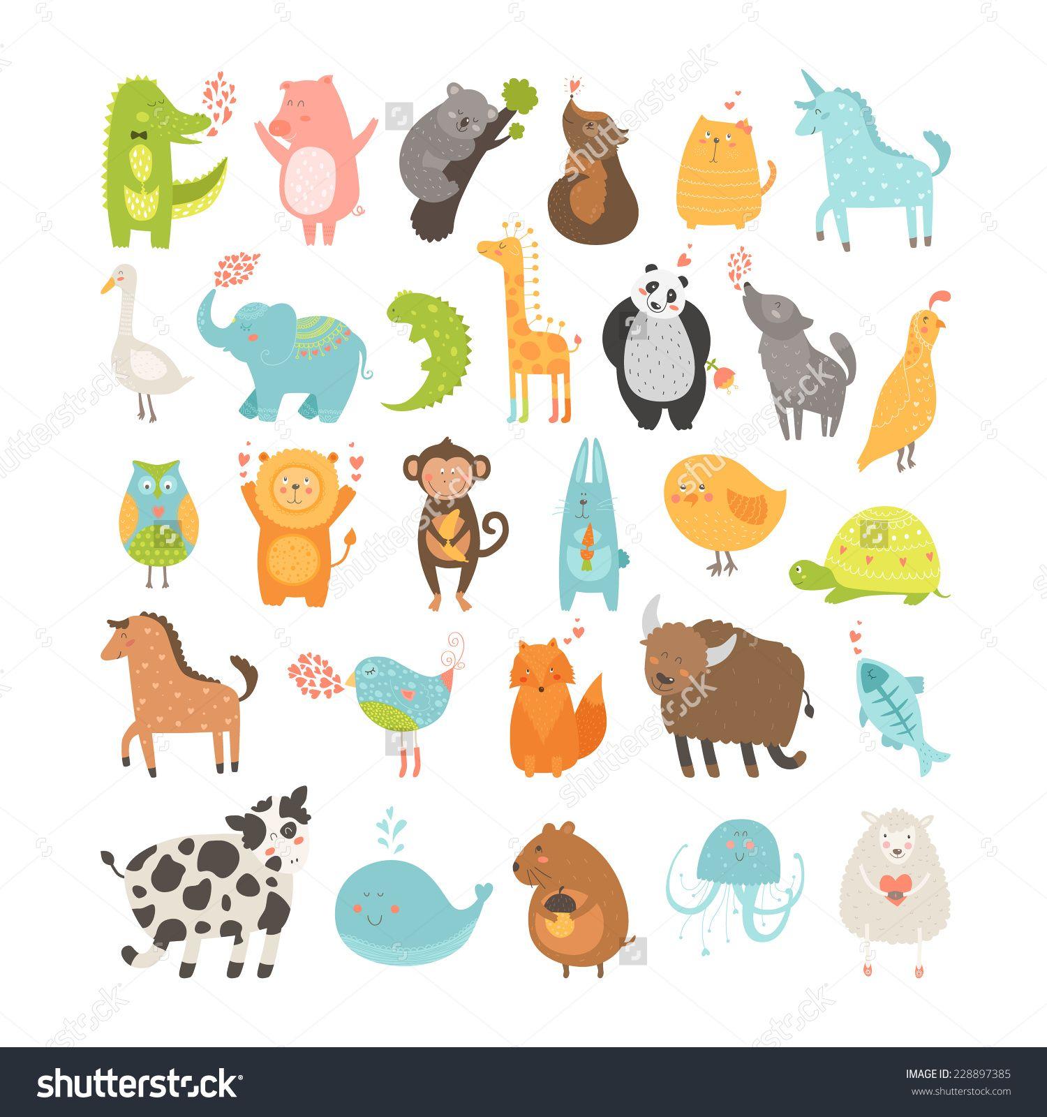 Cute Cartoon Animals Collection Pig Rabbit Monkey Lion