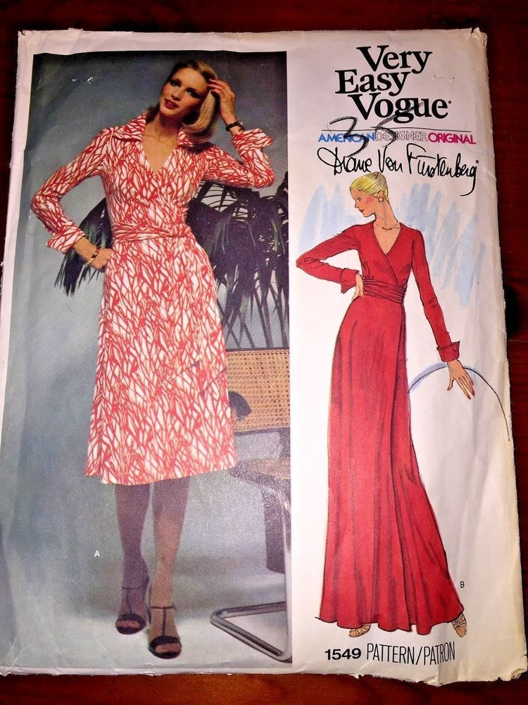 Vintage VOGUE Pattern DIANE VON FURSTENBERG Wrap Dress sz 12 Cut/Used