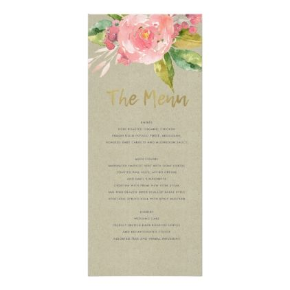 Watercolour pink flower green foliage menu card marriage watercolour pink flower green foliage menu card marriage invitations wedding party cards invitation mightylinksfo Choice Image