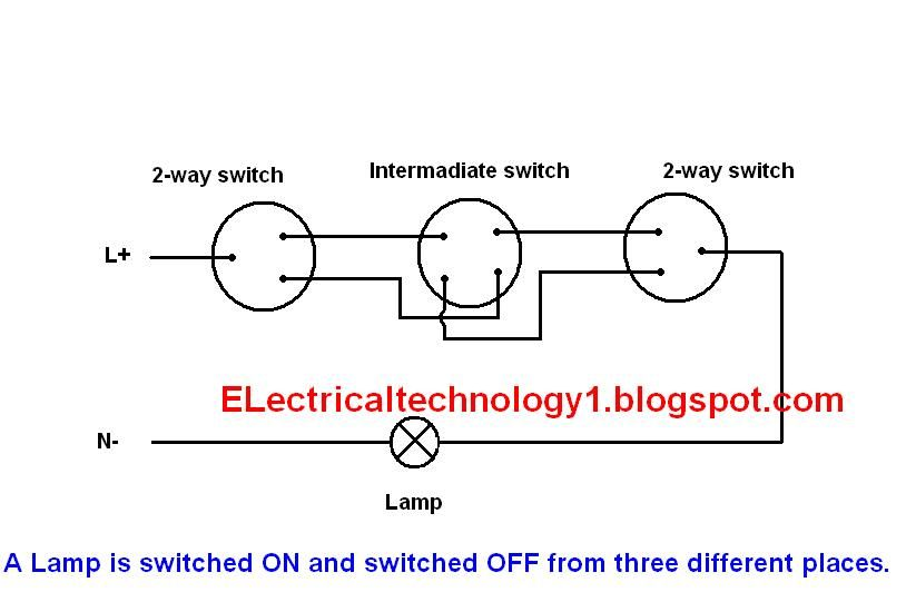 2 way switch how to control one lamp from three different places 2 way switch electrical lighting wiring diagram how to control one lamp from three different places by using two 2 way switches and one intermediate switch asfbconference2016 Choice Image