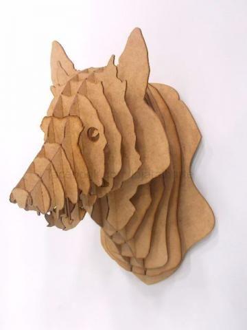 Quebra cuca 3d cabe a lobo tipo taxidermia lobos pinterest madera arte y arte de papel - Cabezas animales tela ...
