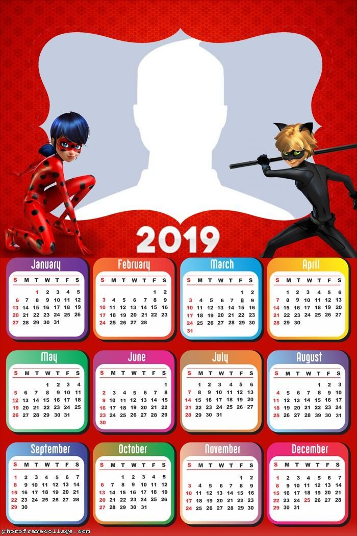 Ladybug and Cat Noir Calendar 2019 Frame Photo Montage