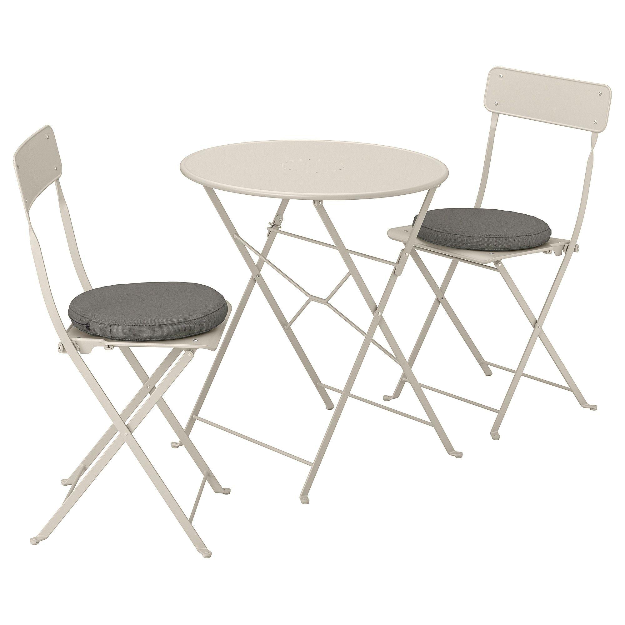 Ikea Saltholmen Bistro Set Outdoor Beige Froson Duvholmen Dark In 2019 Folding Chair Outdoor Tables Chairs Chair