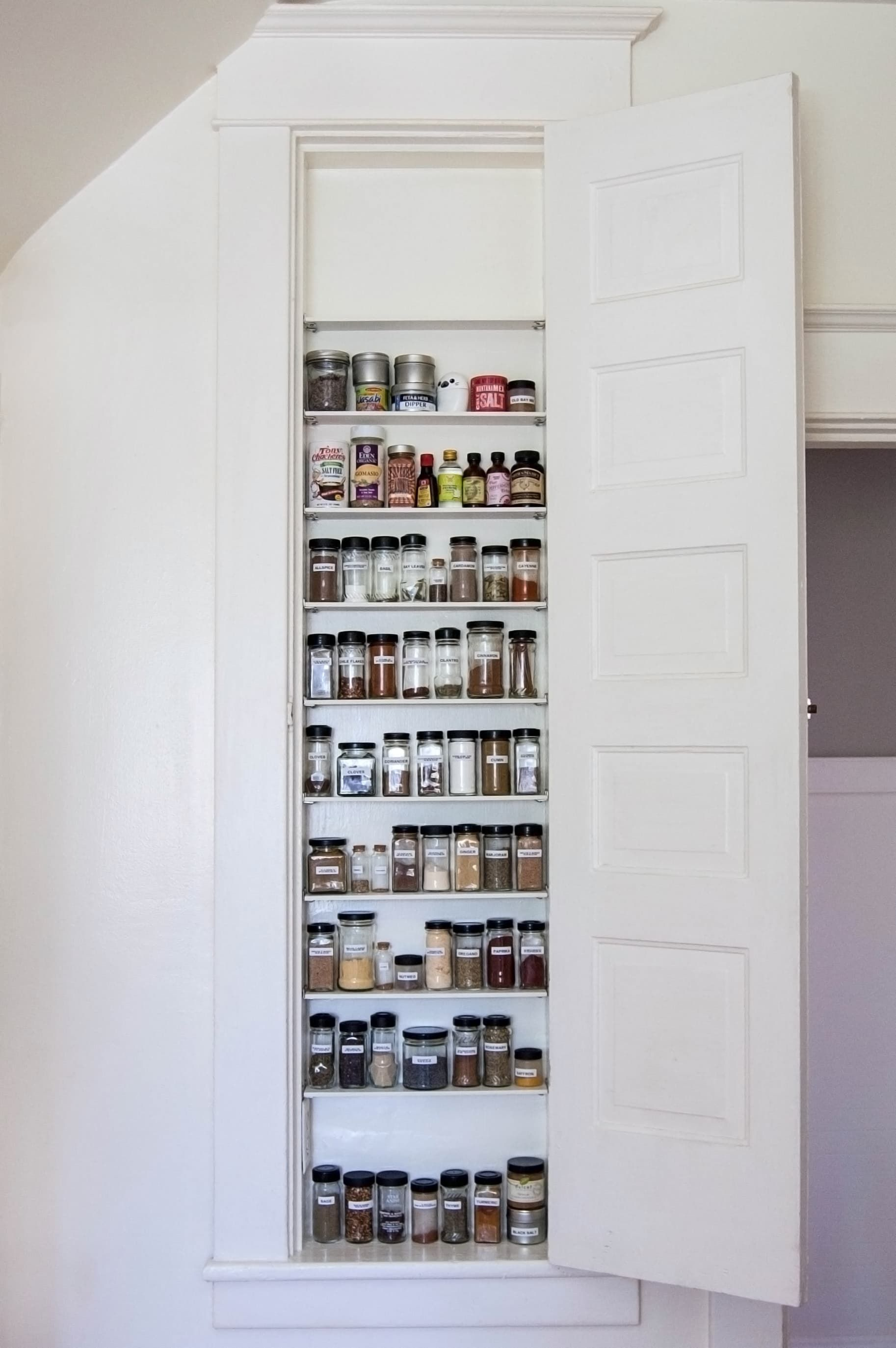 Build a spice cabinet in between the wall studs heres how hidden cabinet hacks dramatically increased my kitchen storage apartment therapy