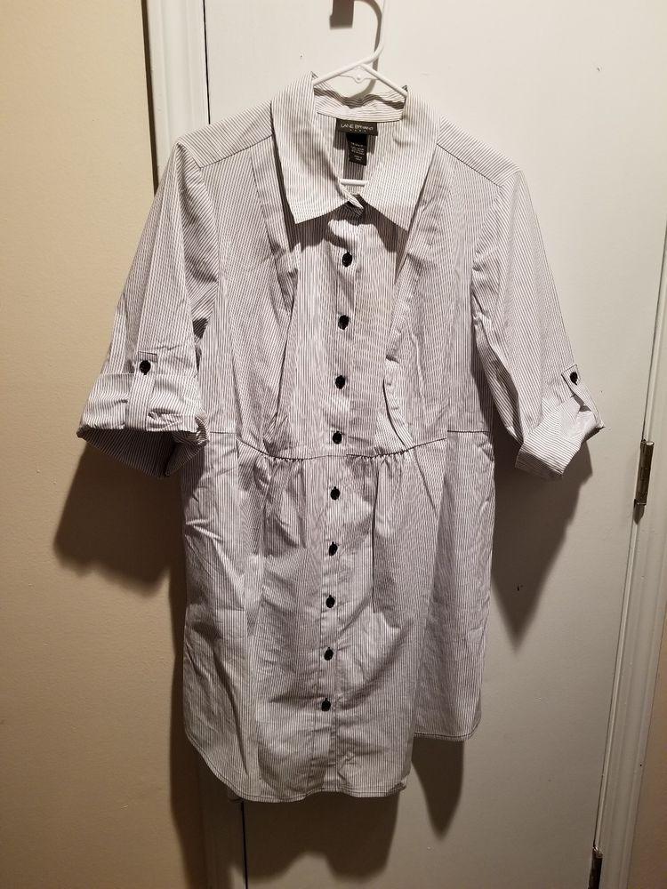 8b959ca82ed89 Lane Bryant 18 20 Dress Shirt Short Button Sleeve---White with black ...