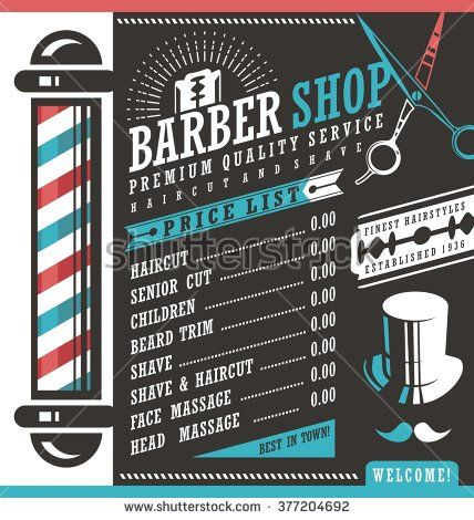 Barber Shop vector price list template. Haircut and shave retro ...