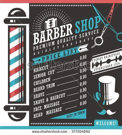 barber shop vector price list template haircut and shave retro barber sign on dark background. Black Bedroom Furniture Sets. Home Design Ideas