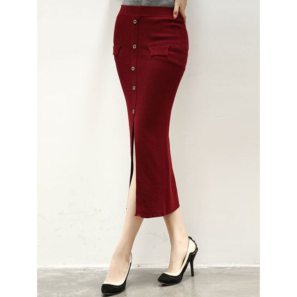 Wine Red High Waist Front Split Button Pocket Midi Pencil Skirt ...
