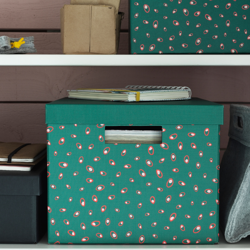 TJENA Storage box with lid green dotted 9 ¾x13 ¾x7 ¾