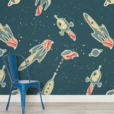 Cartoon Rocket Ships Childrens Square 1 Wall Murals