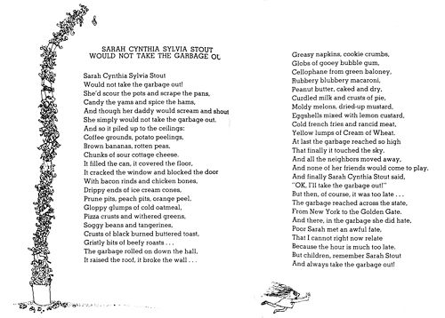 photograph regarding Sarah Cynthia Sylvia Stout Printable called 1 of my favorites Poems Shel silverstein poems