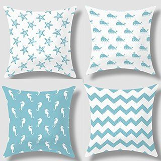 Howarmer Canvas Decorative Throw Pillows Aqua Blue Beach Theme Pillow Case Set Of 4 Turquoise Chevron Whales Sea Horse And