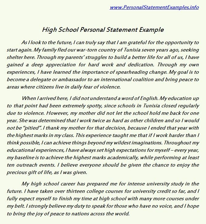 High School Personal Statement Examples for Guidance    www - school essay