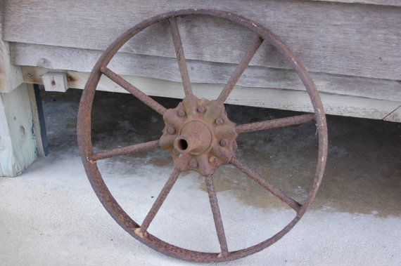 Vintage Iron Farm Wheel Antique Metal Decor Wheel Steel Spoked
