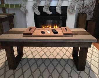 Cozy reclaimed wood coffee table. Perfect for a hygge Christmas.