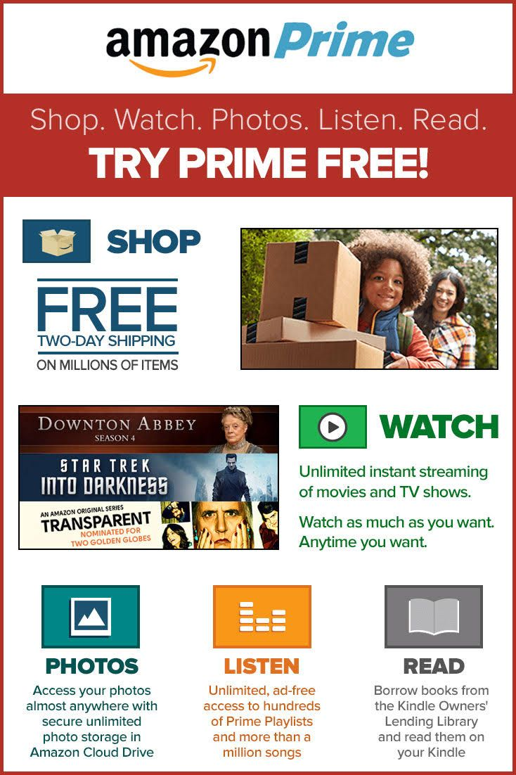 Amazon prime offers you free 2day shipping on millions of