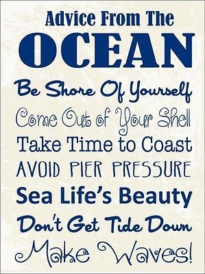 Advice From the Ocean Metal Sign, Sea Rules For Living, Modern Beach House Decor