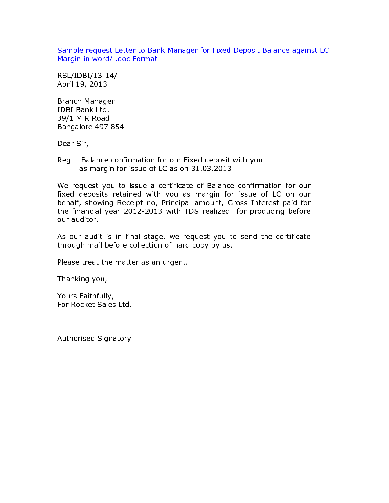 Sample letter bank credit facility 100 cover letter 4 letter bank saving account closing letter spiritdancerdesigns Image collections