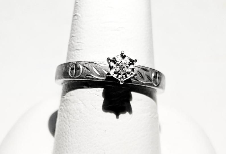 Sterling And Diamond Ring Size 7 10 Point Natural White Diamond Yellow Gold Diamond Wedding Band Emerald Engagement Ring Set 14k Rose Gold Engagement Rings