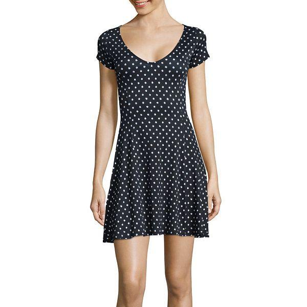 0a3cb5100b Decree® Short-Sleeve Swing Skater Dress- Juniors - JCPenney