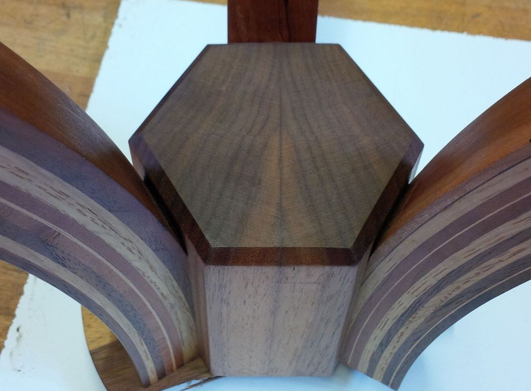 I was asked by Alardus van den Bosch (www.alardus.co.uk) to make a table leg frame to support one of his intarsia table tops, the design is not mine, I had to copy one he already had, I changed it...