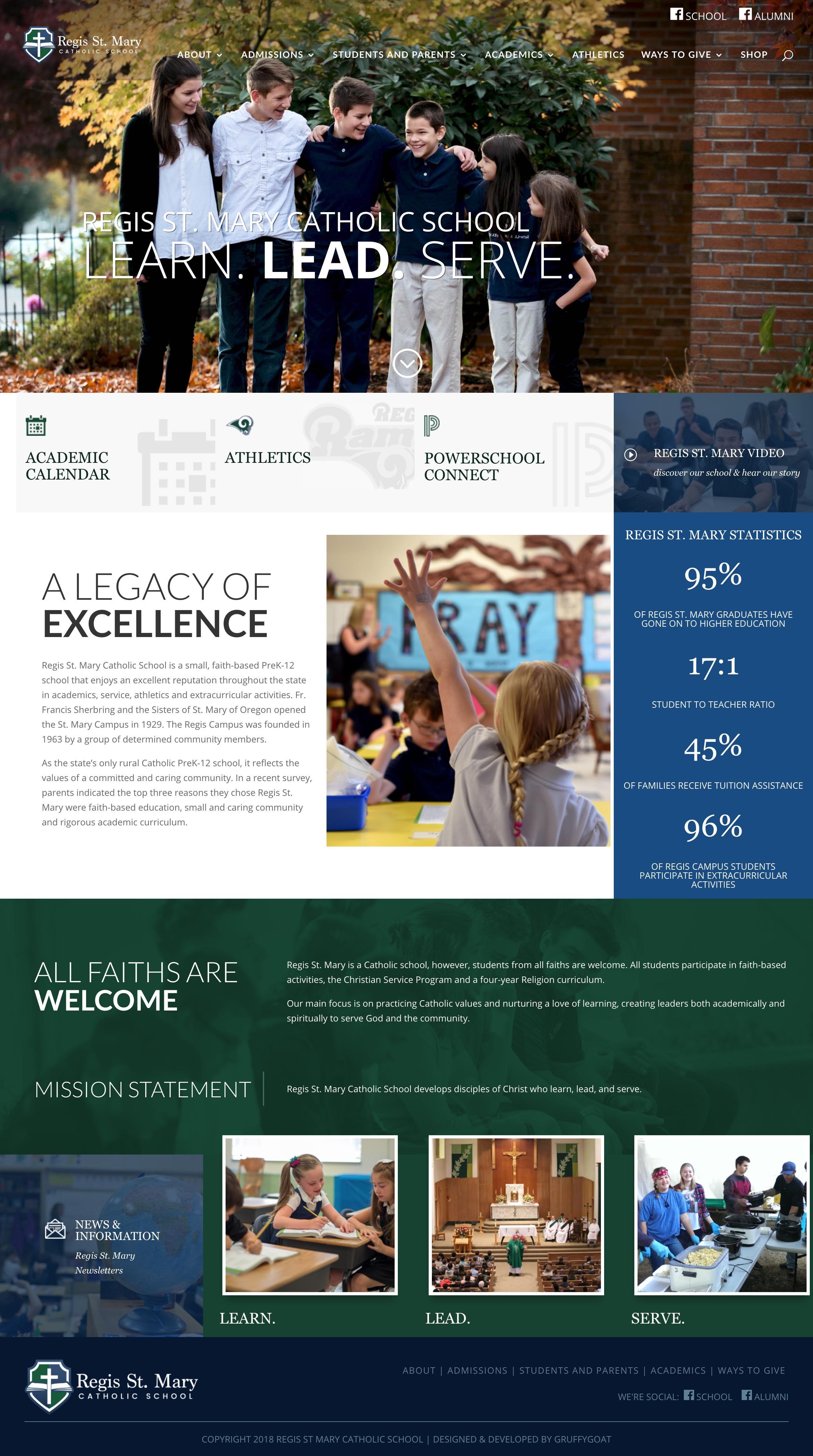 Regis St Mary In Partnership With Gruffygoat Com Vermillion Creative Web Design School Web Design Websites Online Web Design