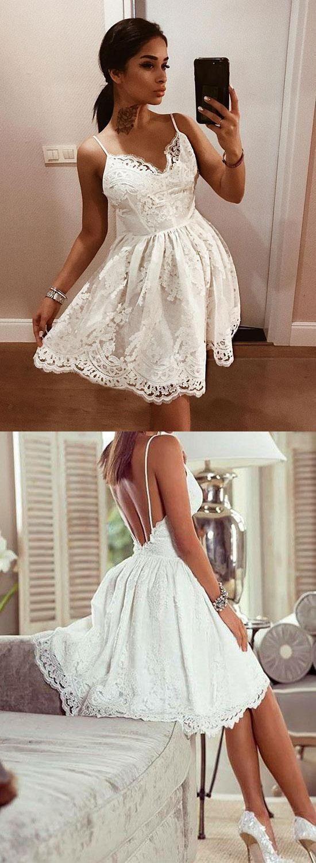 Cute Spaghetti Strap White Lace Homecoming Dress Backless Short Graduation Dress White Homecoming Dresses Lace Homecoming Dresses Cheap Homecoming Dresses [ 1500 x 550 Pixel ]