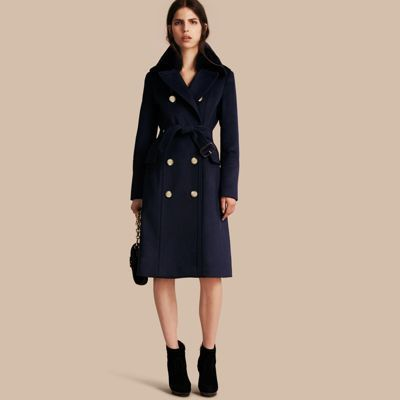 Burberry Wool Cashmere Trench Coat With Detachable Fur