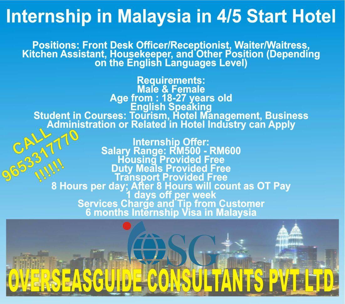 Internship In Malaysia 4 5 Start Hotels Positions Frony Desk Officer Receptionist