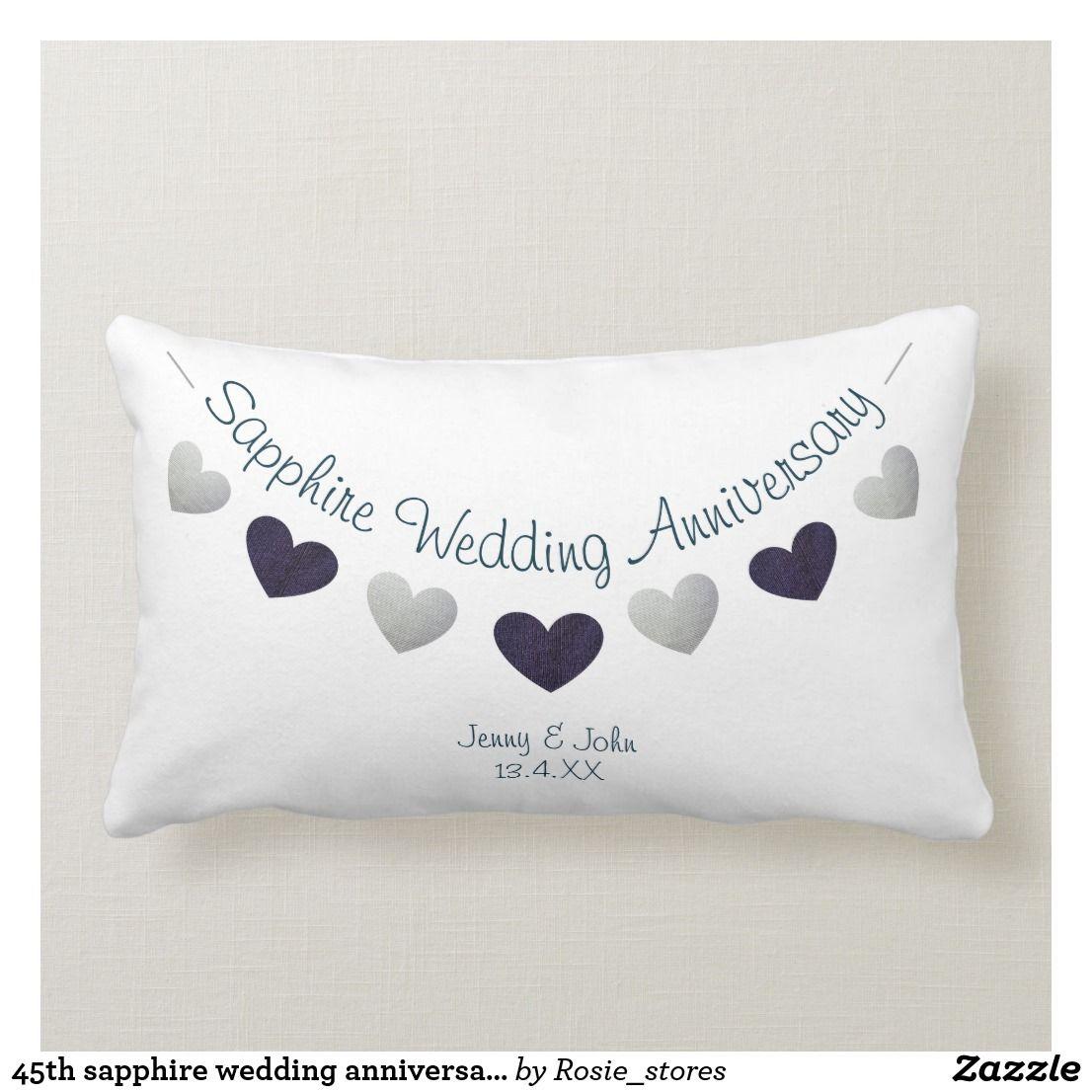 45th sapphire wedding anniversary bunting design lumbar