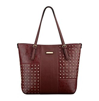 "Sophistication doesn't even begin to describe this luxe tote from Anne Klein which features a chic faux crocodile exterior with glam studded details and a 9"" handle drop that easily slides over your shoulder for convenient wear."