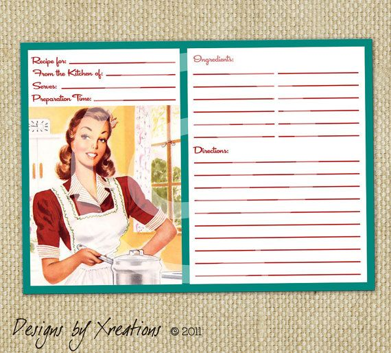 Retro Blank Recipe Card, Digital Template, Instant Download, Print