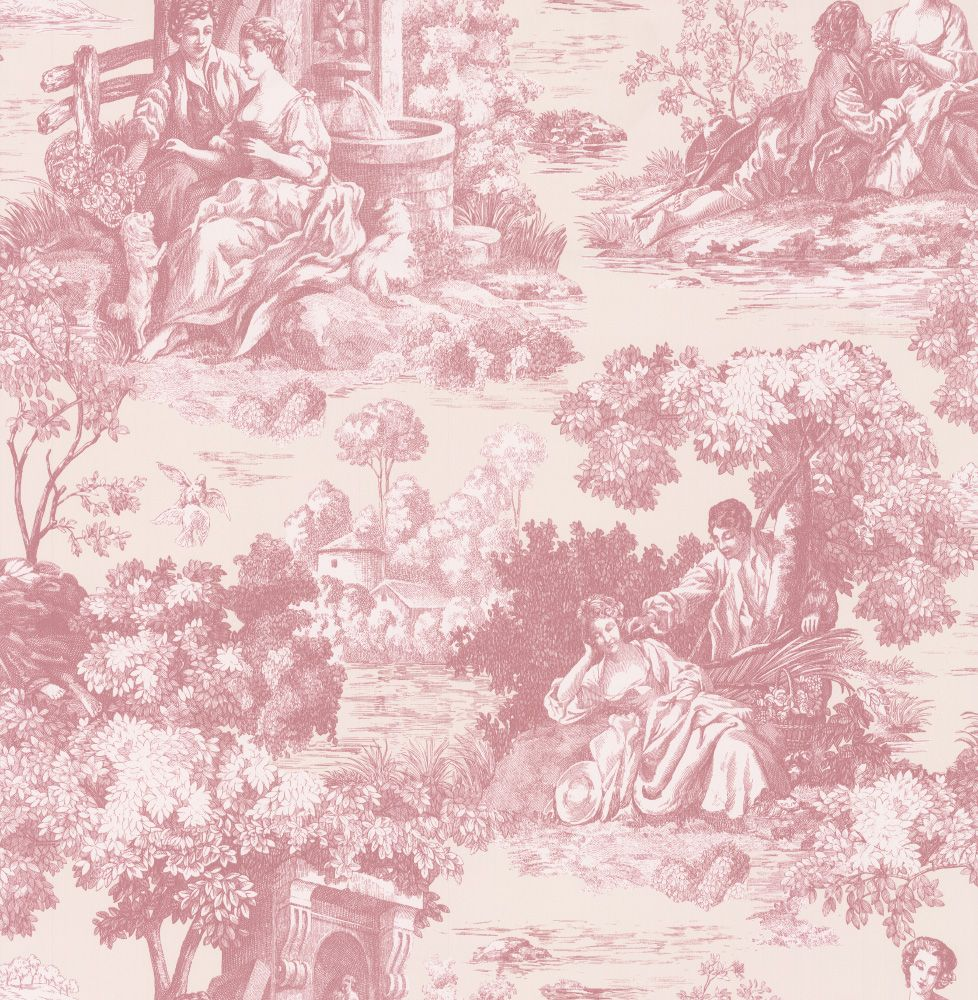 el gant papier peint au motif toile de jouy dans un ton rouge l g rement f n rouge. Black Bedroom Furniture Sets. Home Design Ideas