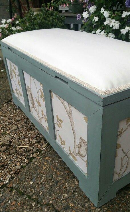 Shabby chic storage trunk bench in Annie Sloan\'s Duck Egg, wallpaper ...