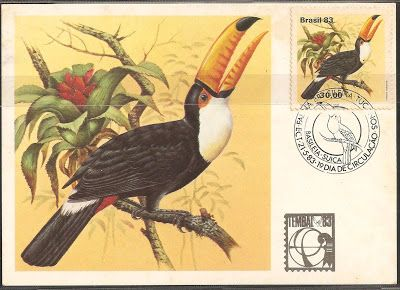 Série de Selos emitida em 21/05/1983: Fauna Brasileira - Tucanos Tucano Toco ou Tucanuçu